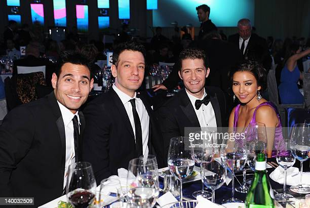 Eric Podwall JC Casez Matthew Morrison and Renee Puente attend the 20th Annual Elton John AIDS Foundation Academy Awards Viewing Party at The City of...