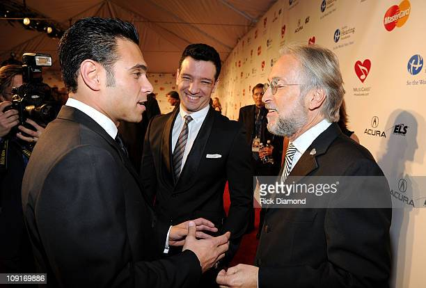 Eric Podwall singer JC Chasez and National Academy of Recording Arts and Sciences President Neil Portnow arrive at 2011 MusiCares Person of the Year...