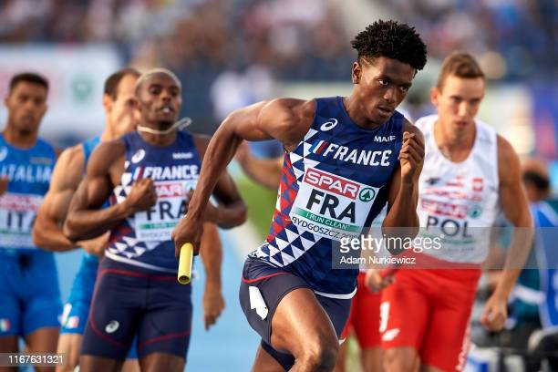 Eric Prevot from France competes in men's 4x400 meters relay final while European Athletics Team Championships Super League Bydgoszcz 2019 - Day...