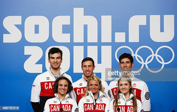 Eric Radford Meagan Duhamel Dylan Moscovitch Kristen MooreTowers Paige Lawrence and Rudi Swiegers attend a Canada Figure Skating pairs press...