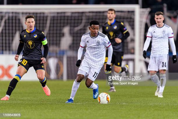 Eric Ramires of Basel runs with the ball during the UEFA Europa League round of 32 second leg match between FC Basel and APOEL Nikosia at St...