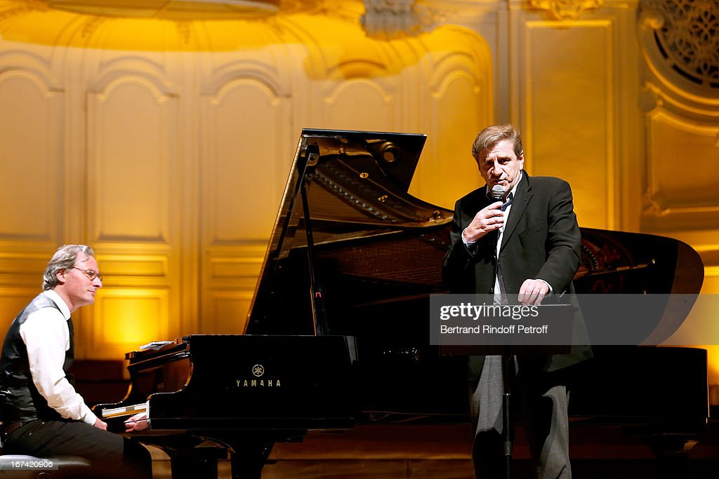 Eric Rebel singing Serge Lama at Salle Gaveau 105th Anniversary on April 24, 2013 in Paris, France.