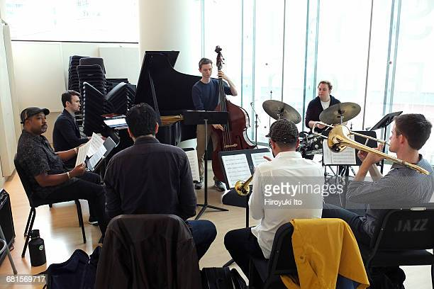 Eric Reed coaching the Juilliard Jazz Artist Diploma Ensemble at the Juilliard School on Thursday afternoon September 29 2016 They are working on the...