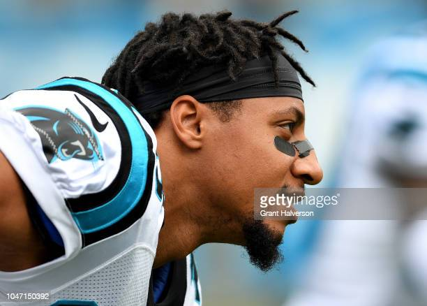 Eric Reed of the Carolina Panthers warms up during their game against the New York Giants at Bank of America Stadium on October 7 2018 in Charlotte...
