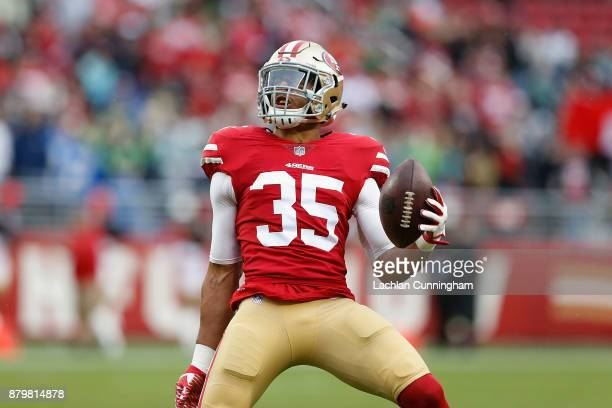Eric Reid celebrates after intercepting a pass against the Seattle Seahawks at Levi's Stadium on November 26 2017 in Santa Clara California