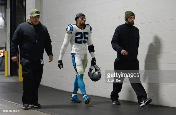 Eric Reid of the Carolina Panthers heads back to the locker room after being ejected during the third quarter in the game against the Pittsburgh...