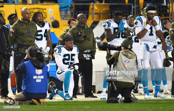 Eric Reid of the Carolina Panthers kneels during the National Anthem before the game against the Pittsburgh Steelers at Heinz Field on November 8...