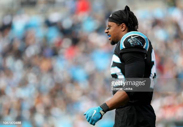 Eric Reid of the Carolina Panthers looks on against the Tampa Bay Buccaneers in the fourth quarter during their game at Bank of America Stadium on...