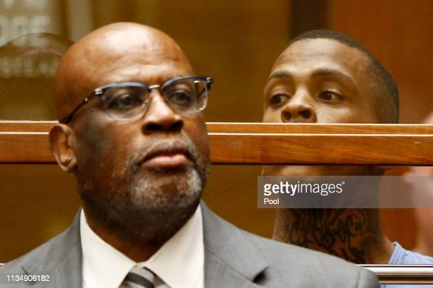 Eric Ronald Holder Jr who is accused of killing of rapper Nipsey Hussle appears for arraignment with his Attorney Christopher Darden on April 4 2019...