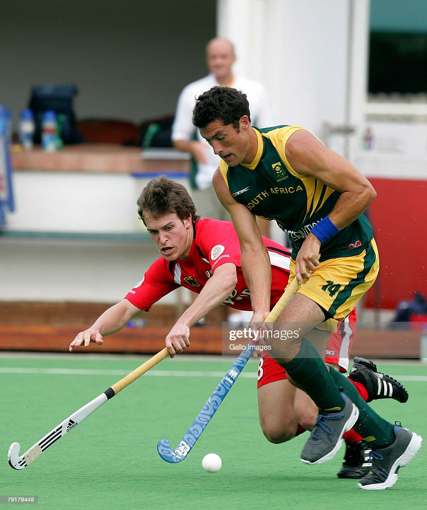 Eric Rose Innes of South Africa and Oliver Korn of Germany during the Five Nations Mens Hockey tournament match between South Africa and Germany held at the North West University hockey centre on January 23, 2008 in Potchefstroom, South Africa.