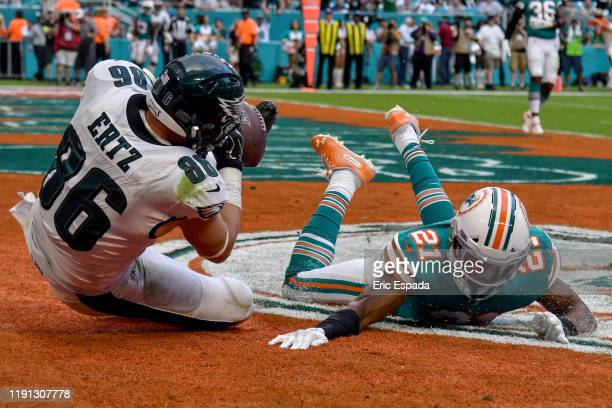 Eric Rowe of the Miami Dolphins breaks up a pass intended for Zach Ertz of the Philadelphia Eagles during the fourth quarter of the game at Hard Rock...