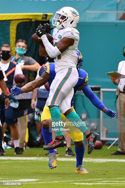 Eric Rowe of the Miami Dolphins intercepts a pass from Jared Goff of the Los Angeles Rams during their NFL game at Hard Rock Stadium on November 01,...