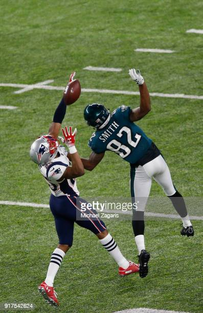 Eric Rowe of the New England Patriots breaks up a pass to Torrey Smith of the Philadelphia Eagles in Super Bowl LII at US Bank Stadium on February 4...