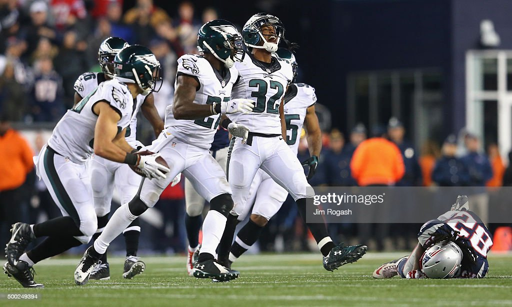 Eric Rowe #32 of the Philadelphia Eagles celebrates after an incomplete New England Patriots pass during the fourth quarter at Gillette Stadium on December 6, 2015 in Foxboro, Massachusetts.