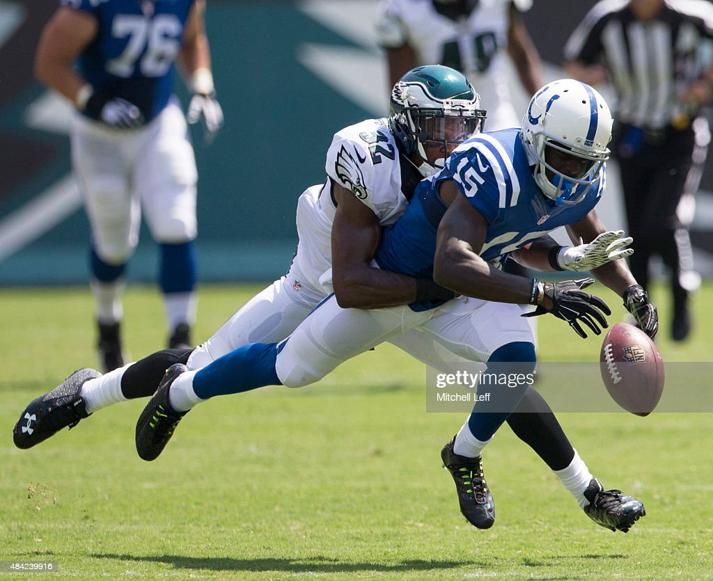 Eric Rowe #32 of the Philadelphia Eagles forces a fumble on Phillip Dorsett #15 of the Indianapolis Colts in the preseason game on August 16, 2015 at Lincoln Financial Field in Philadelphia, Pennsylvania. The Eagles defeated the Colts 36-10.