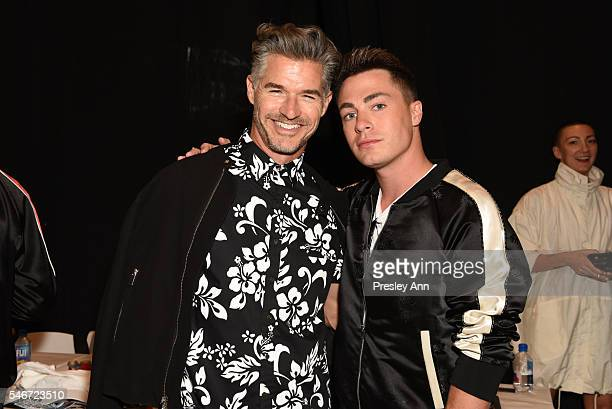 Eric Rutherford and Colton Haynes attend Ovadia Sons Backstage New York Fashion Week Men's S/S 2017 at Skylight Clarkson Sq on July 12 2016 in New...
