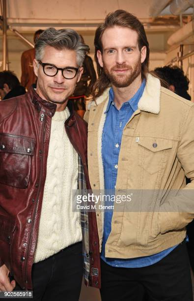 Eric Rutherford and Craig McGinlay attend the Belstaff presentation during London Fashion Week Men's January 2018 at The Vinyl Factory Gallery on...