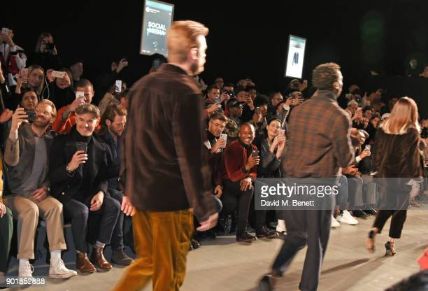 Eric Rutherford Craig McGinlay Darren Kennedy Eric Underwood and Erin OÕConnor sit in the front row at the Oliver Spencer LFWM AW18 Catwalk Show at...