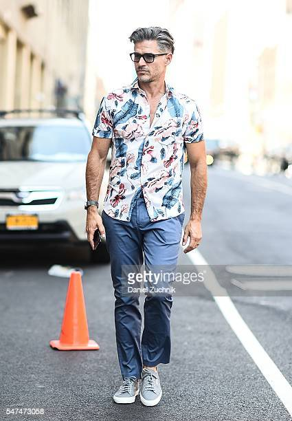 Eric Rutherford is seen outside the Parke Ronen show during New York Fashion Week Men's S/S 2017 Day 4 on July 14 2016 in New York City