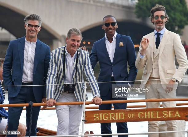 Eric Rutherford Jeremy Hackett Eric Underwood and Richard Biedul attend the Henley Royal Regatta and their official partner Hackett London launch...