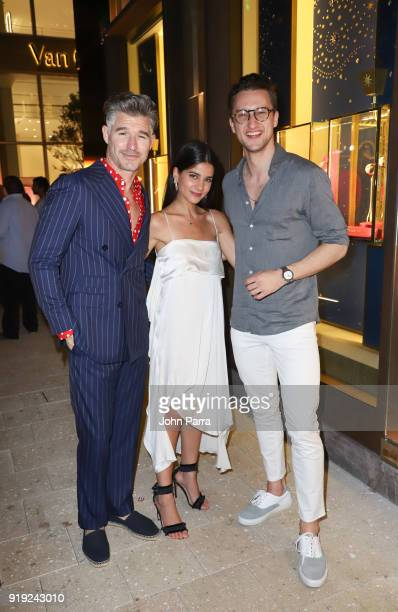 Eric Rutherford Lainy Hedaya and Marcel Floruss are seen at Miami Design District's Watches Wonders Miami 2018 on February 16 2018 in Miami Florida