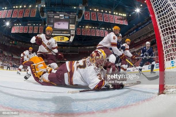 Eric Schierhorn of the Minnesota Golden Gophers makes a save with his arm against the Penn State Nittany Lions during game two of the Big Ten Men's...