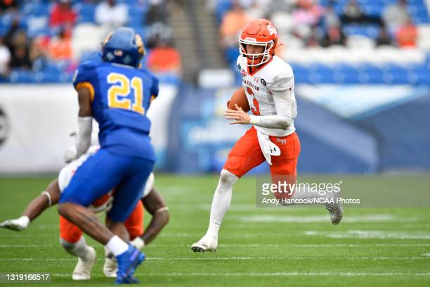 Eric Schmid of the Sam Houston State Bearkats rushes against the South Dakota State Jackrabbits during the Division I FCS Football Championship held...