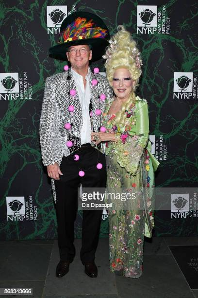 Eric Schmidt and Bette Midler attend Bette Midler's 2017 Hulaween event benefiting the New York Restoration Project at Cathedral of St John the...
