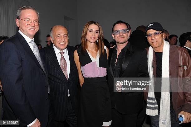 Eric Schmidt CEO Google Doug Morris Chairman CEO UMG Queen Rania of Jordan Bono and Jimmy Iovine Chariman Interscope Geffen AM attend the launch of...