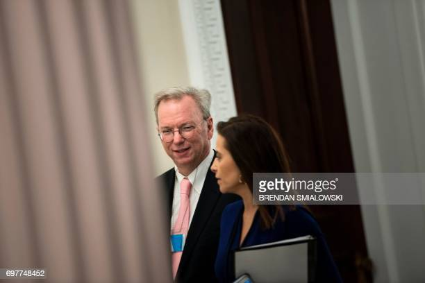 Eric Schmidt CEO of Alphabet arrives to hear Senior Advisor Jared Kushner speak during an event with technology sector CEOs at the White House on...