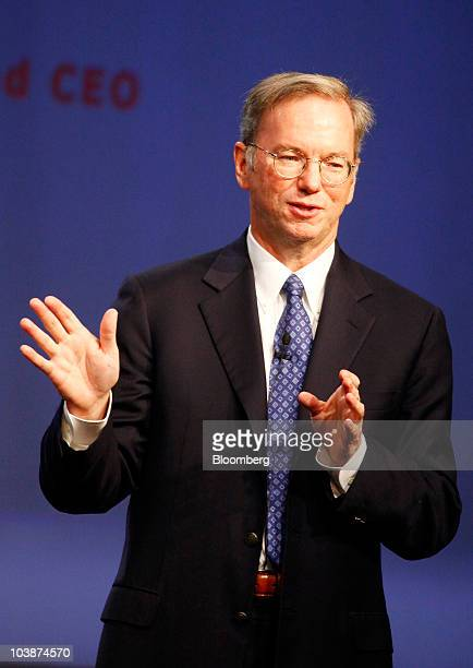 Eric Schmidt chairman and chief executive officer of Google Inc gestures while speaking at the Internationale Funkausstellung consumer electronics...