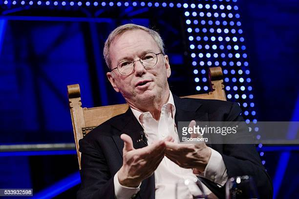 Eric Schmidt chairman of Alphabet Inc gestures whilst speaking during the opening of Startup Fest a fiveday conference to showcase Dutch innovation...