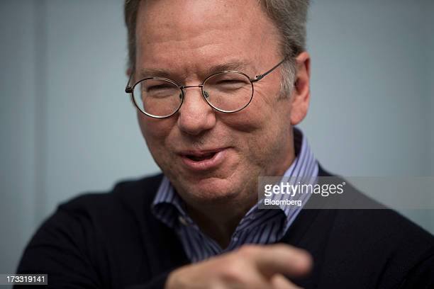 Eric Schmidt chairman of Google Inc sits for a photograph at the Allen Co Media and Technology Conference in Sun Valley Idaho US on Thursday July 11...