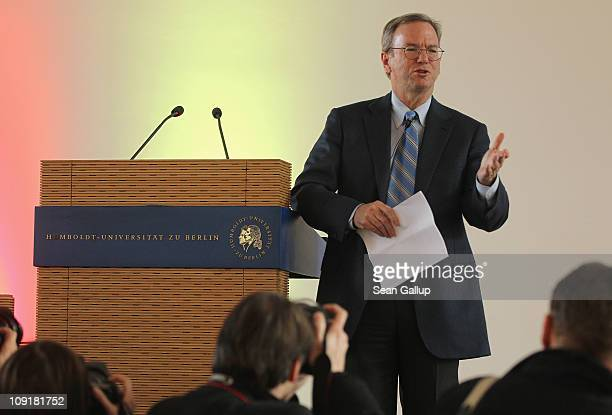 Eric Schmidt Chairman of the Board and Chief Executive Officer of Google speaks to students at Humboldt University on February 16 2011 in Berlin...
