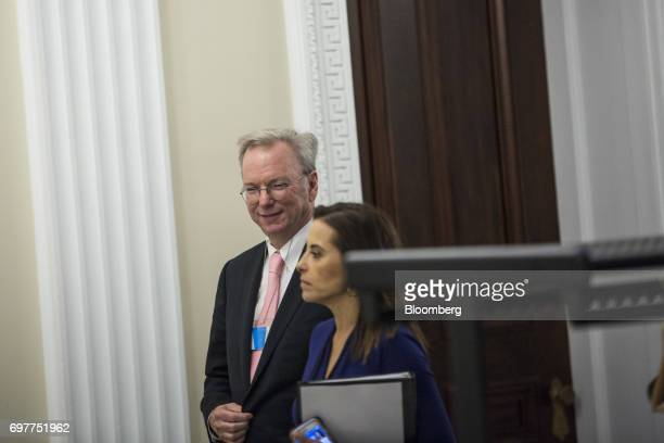 Eric Schmidt chief executive officer of Alphabet Inc arrives to a meeting in the Eisenhower Executive Office Building in Washington DC US on Monday...