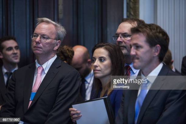 Eric Schmidt chief executive officer of Alphabet Inc left listens as Jared Kushner senior White House adviser not pictured speaks during a meeting...