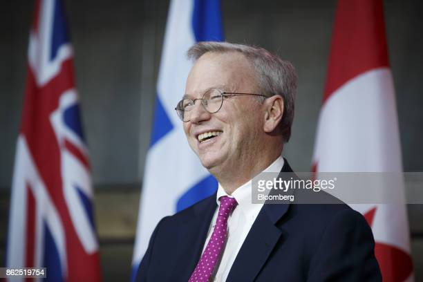 Eric Schmidt chief executive officer of Alphabet Inc smiles while speaking during an event in Toronto Ontario Canada on Tuesday Oct 17 2017 Sidewalk...