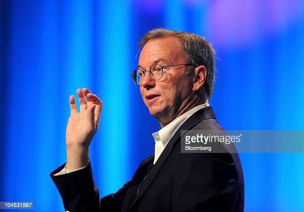 Eric Schmidt chief executive officer of Google Inc speaks at the TechCrunch Disrupt conference in San Francisco California US on Tuesday Sept 28 2010...
