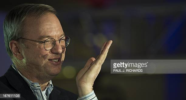 Eric Schmidt Executive Chairman Google responds to questions from people attending Googles Big Tent event April 26 2013 at the W Hotel in Washington...