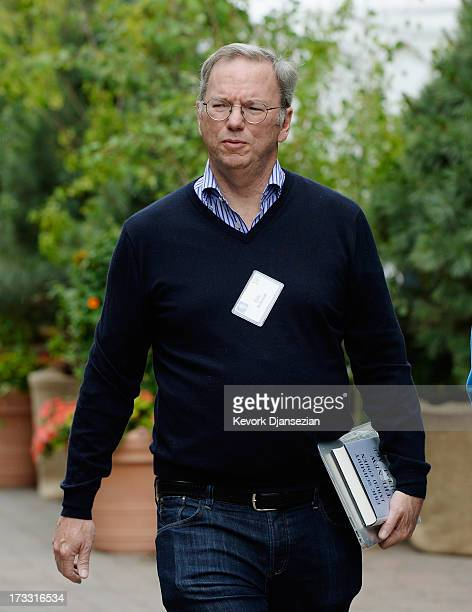 Eric Schmidt executive chairman of Google arrives for the Allen Co annual conference on July 11 2013 in Sun Valley Idaho The resort will host...