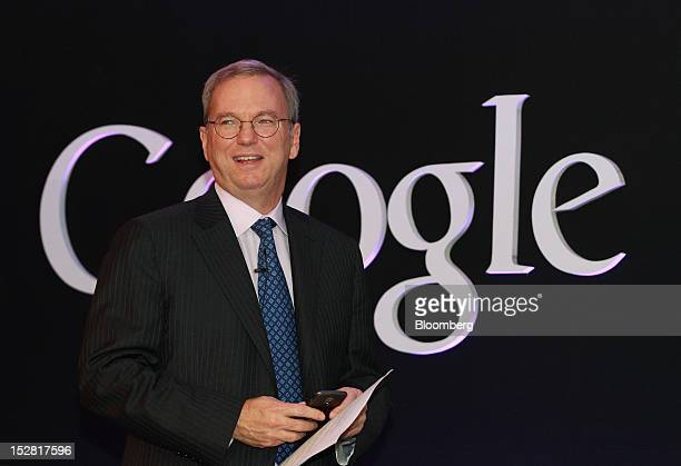 Eric Schmidt executive chairman of Google Inc attends a news conference in Seoul South Korea on Thursday Sept 27 2012 Google Inc will start selling...