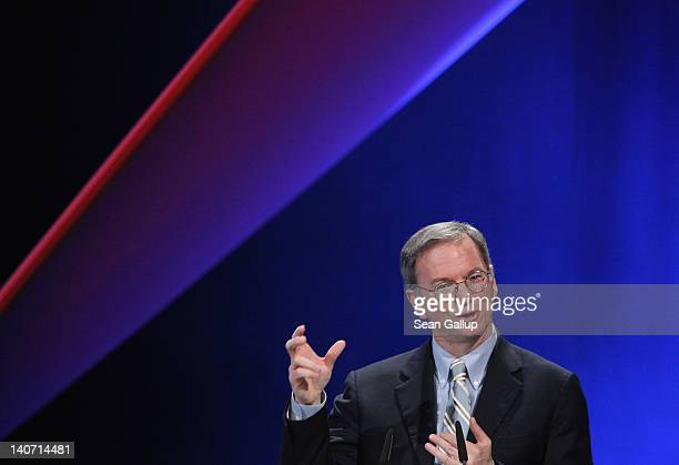 Eric Schmidt Executive Chairman of Google Inc speaks at the opening ceremony of the CeBIT 2012 technology trade fair on March 5 2012 in Hanover...