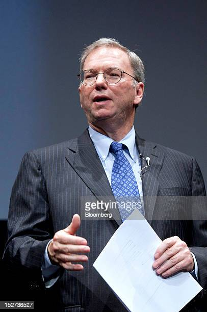 Eric Schmidt executive chairman of Google Inc speaks during a news conference in Tokyo Japan on Tuesday Sept 25 2012 Google said it will sell its...