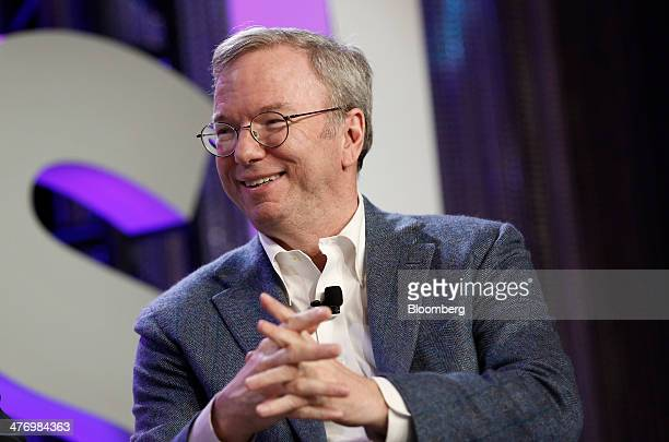 Eric Schmidt executive chairman of Google Inc speaks during an interview at OASIS The Montgomery Summit in Santa Monica California US on Wednesday...