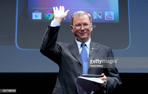 Eric Schmidt executive chairman of Google Inc waves as he leaves a news conference in Tokyo Japan on Tuesday Sept 25 2012 Google said it will sell...