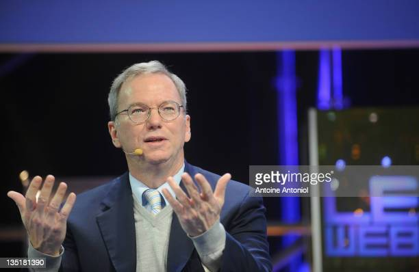 Eric Schmidt executive chairman of Google speaks at LeWeb Paris 2011 at Le 104 on December 7 2011 in Paris France Since beginning in 2008 LeWeb Paris...