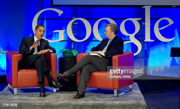 Eric Schmidt Google Chairman and Chief Executive Officer interviews Democratic Presidential hopeful Senator Barack Obama during a town hall meeting...