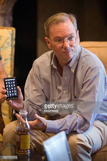 Eric Schmidt Google Inc chairman and chief executive officer speaks during a news conference inside the Sun Valley Inn at the 28th annual Allen Co...