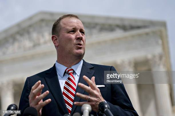 Eric Schmitt, Missouri attorney general, speaks during a news conference outside the Supreme Court in Washington, D.C., U.S., on Monday, Sept. 9,...