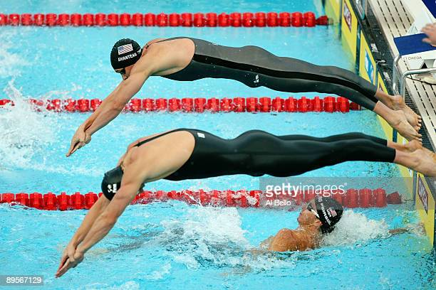 Eric Shanteau of the United States and Benjamin Starke of Germany compete in the Men's 4x 100m Medley Relay Final during the 13th FINA World...